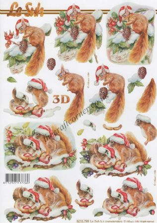 Christmas Red Squirrels 3d Decoupage Sheet